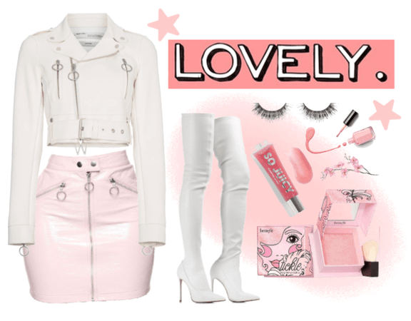 pink & white leather