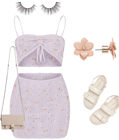 cute women's purple crop top skirt with accessories.