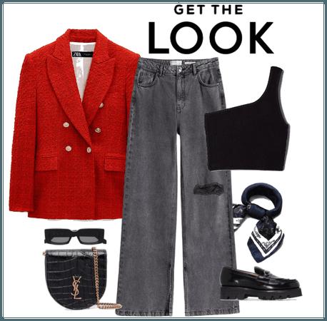 red tweed blazer