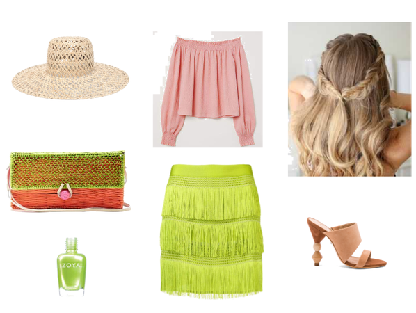 Sweet shades of pink and green in a holiday look!