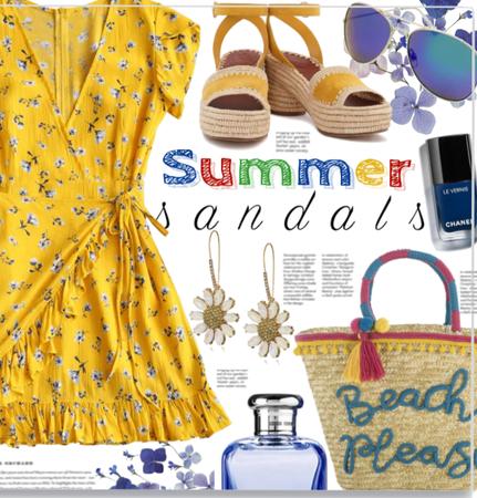 Yellow Floral dress&Summer sandals