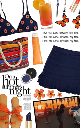 navy and orange-red