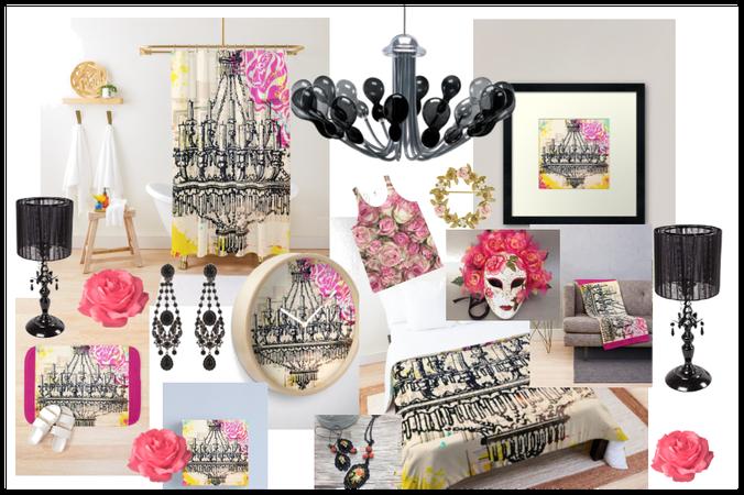 Black Chandelier & Pink Roses Decor