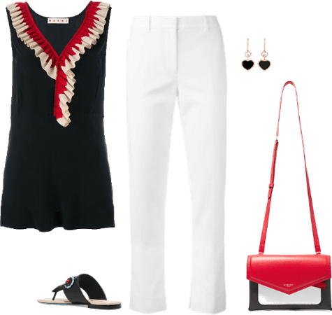 Red black and white ruffles