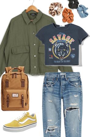 school inspired grunge look