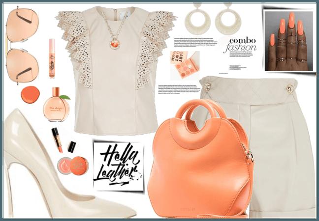 cream and peach leather