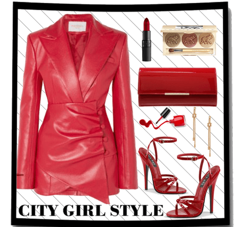 new creator challenge - my style red leather blazer dress outfit