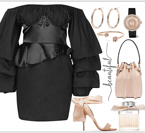 black dress with pink details look