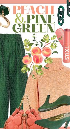peach & pine green