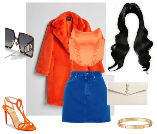 Orange and blue complementary outfit