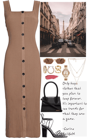 A day in Paris, brown dress & gold jewelry