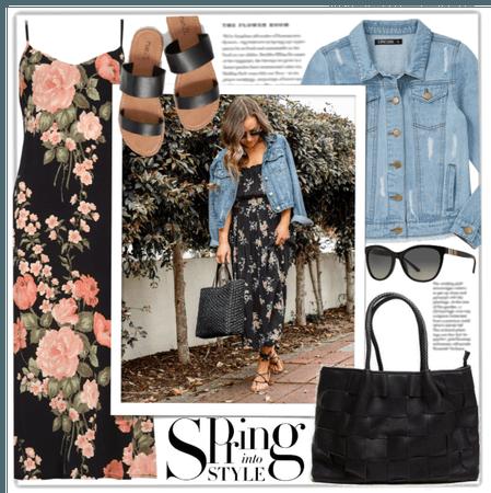 The Essentials: Denim Jacket and Floral Midi Dress