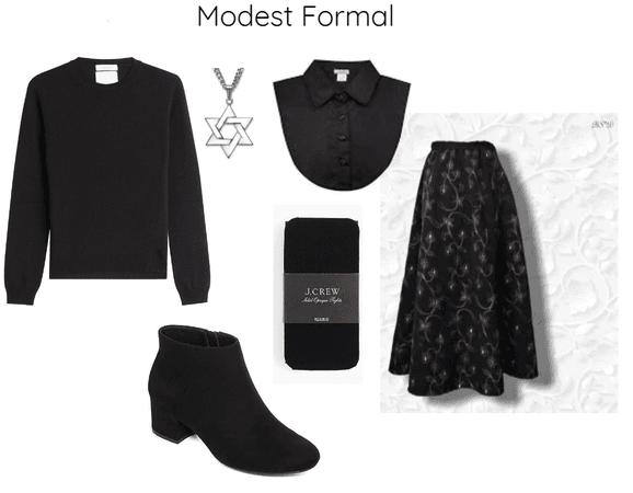 Elegant Black Modest Formal