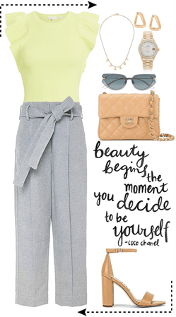 light green top with gray pants look