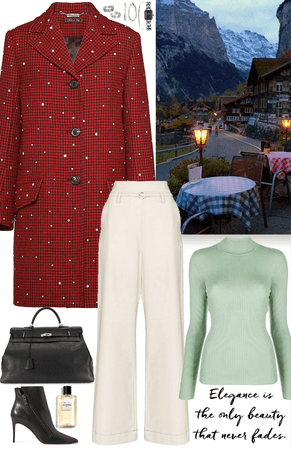 winter outfit with 3 colors and black bag & boots