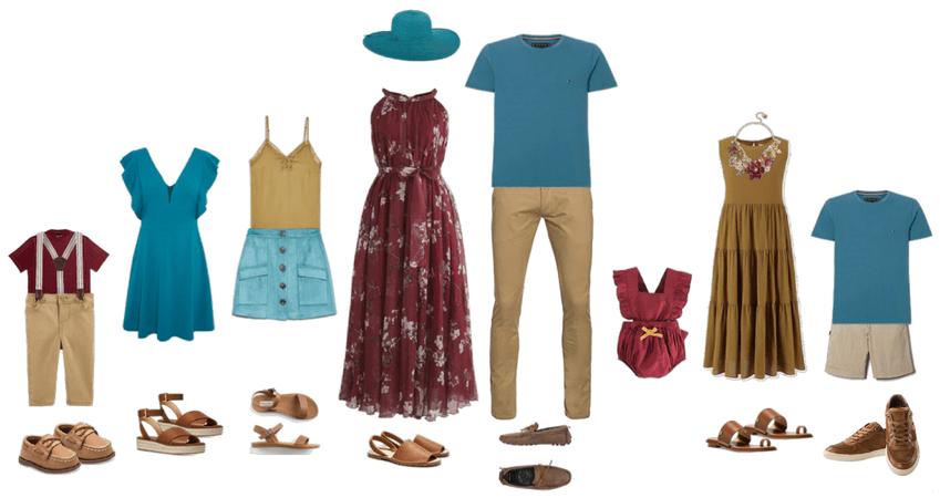 Family portrait outfits summer burgandy teal