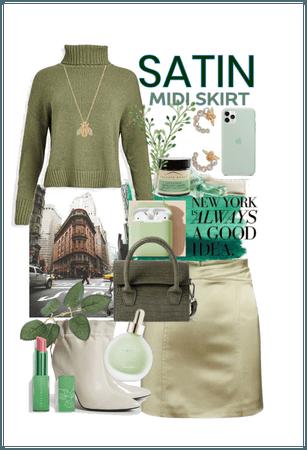 Satin Midi Skirt_A