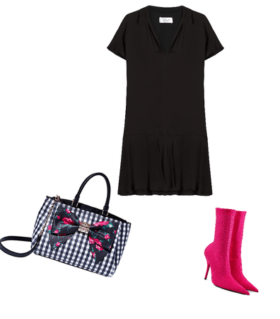 Black gingham and pink