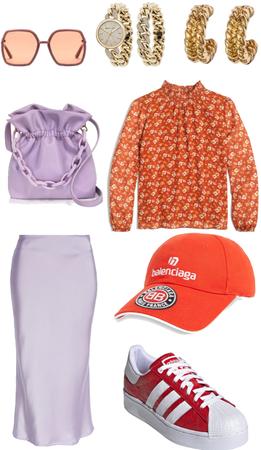 Pastels & Prints - Red Meets Lavender