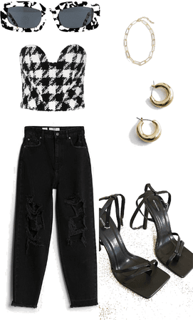 brunch with friends outfit b&w