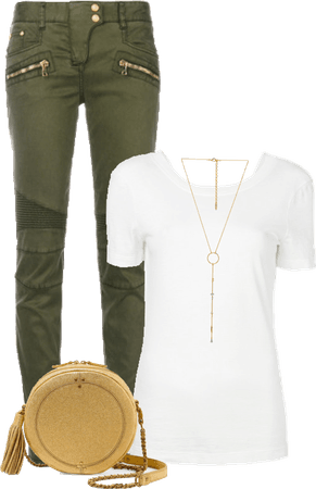 White t-shirt & green jeans