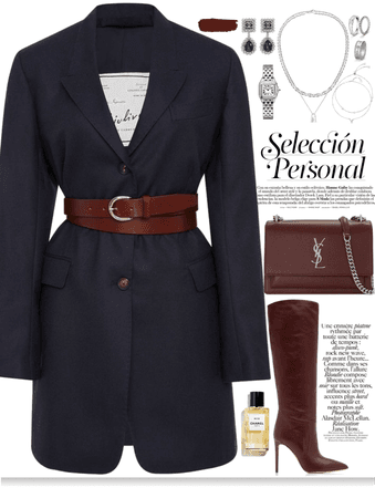 Dark blue & Burgundy One Pieced outfit with silver jewelry