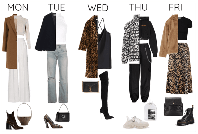 one week five outfits.
