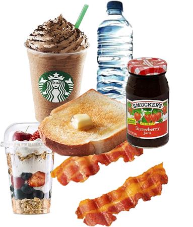 breakfast and Starbucks