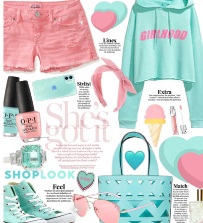 She's Got It| My shoplook style| Teal and pink