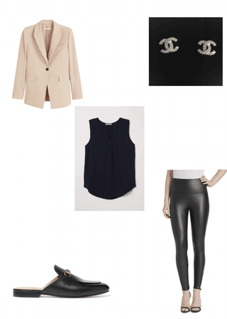 casual leather legging outfit