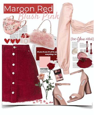 maroon & blush pink