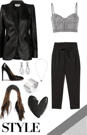 Black and White Bra and Blazer