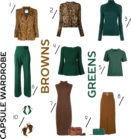 Capsule wardrobe: Casual browns and greens