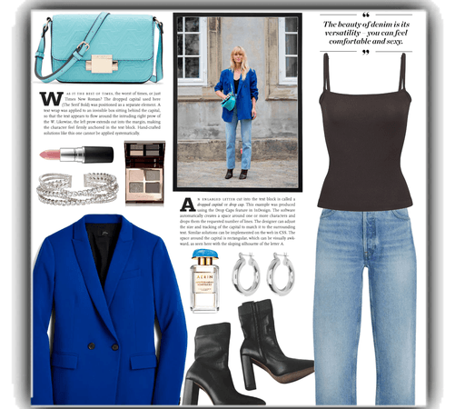 jeans and black tank and blue blazer.