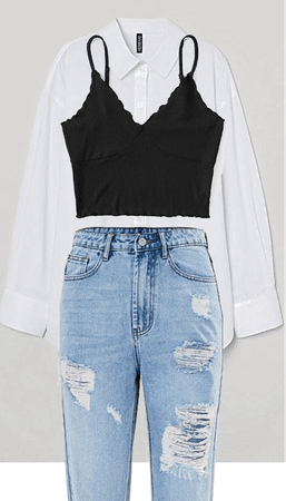 top , jean , chemise blanche