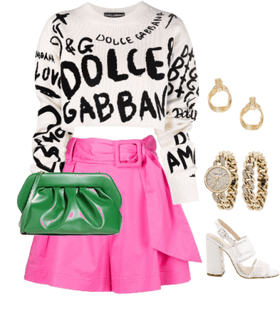 green pink outfit