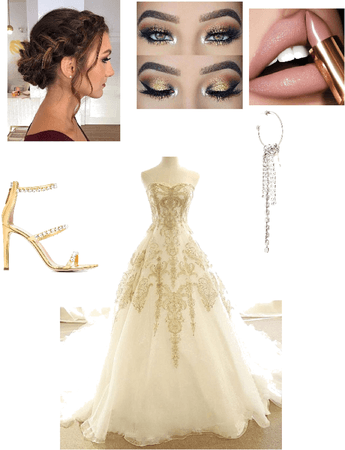 Gold themed wedding dress