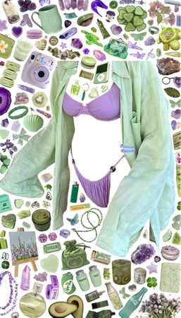 green and purple bikini