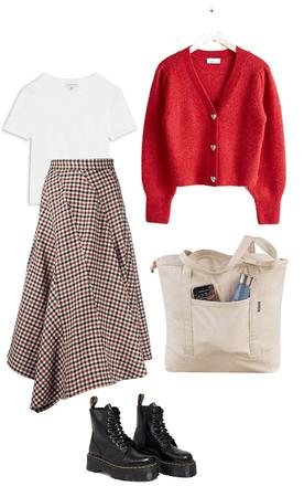 plaid asymmetrical skirt