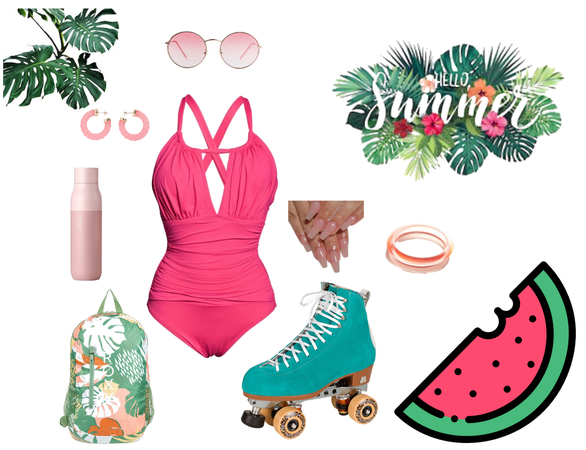 Watermelon Inspired Beach Summer Skate Fit