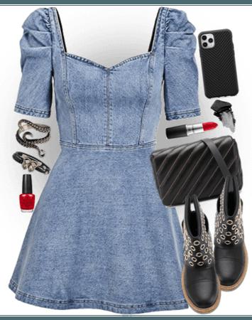 cute dress+brutal boots