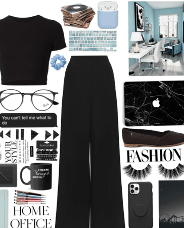 Black and blue home office,