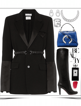 black blazer,blue hand-bag & dimensions