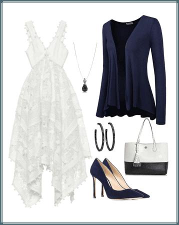 Navy white dress