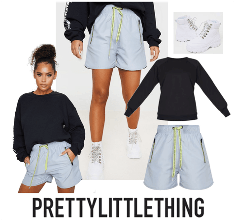 Grey contrast drawstring shorts outfit