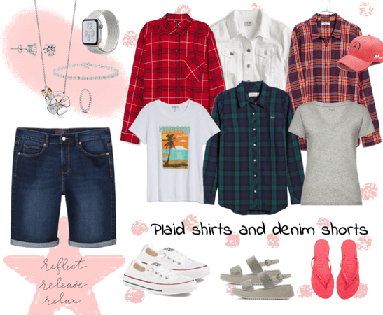 Focus: Plaid shirts and denim shorts