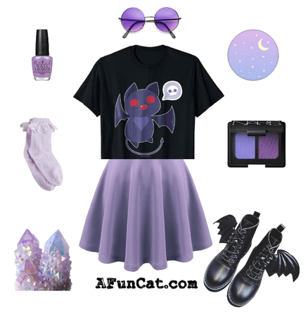 A Fun Cat Kawaii Halloween Bat Devil Cat Heart