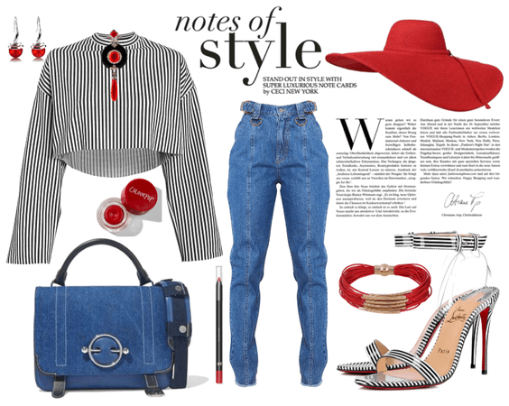stripes,denim and red