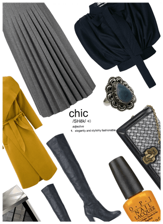 Chic: Must Haves Knee Boots/coat/pleated Skirt