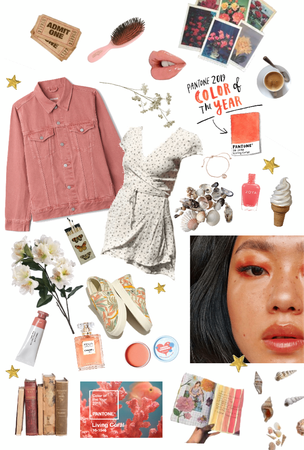 Pantone lively coral mood board